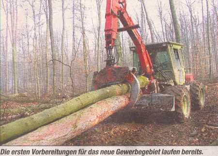 Vorbereitungen zum Abholzen des Rüdtwaldes,Bretten
